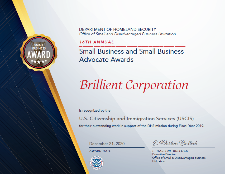 DHS Small Business of the Year Award