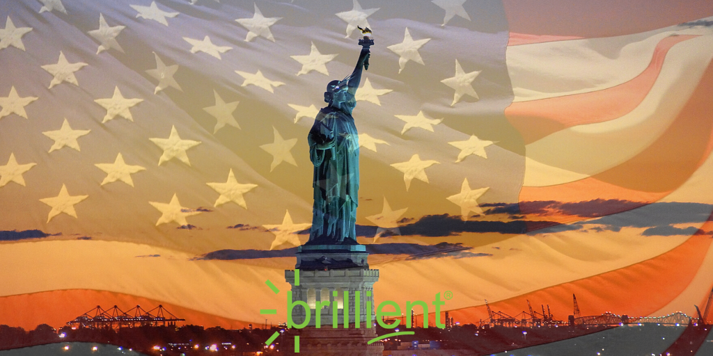 Statue of Liberty with Brillient logo