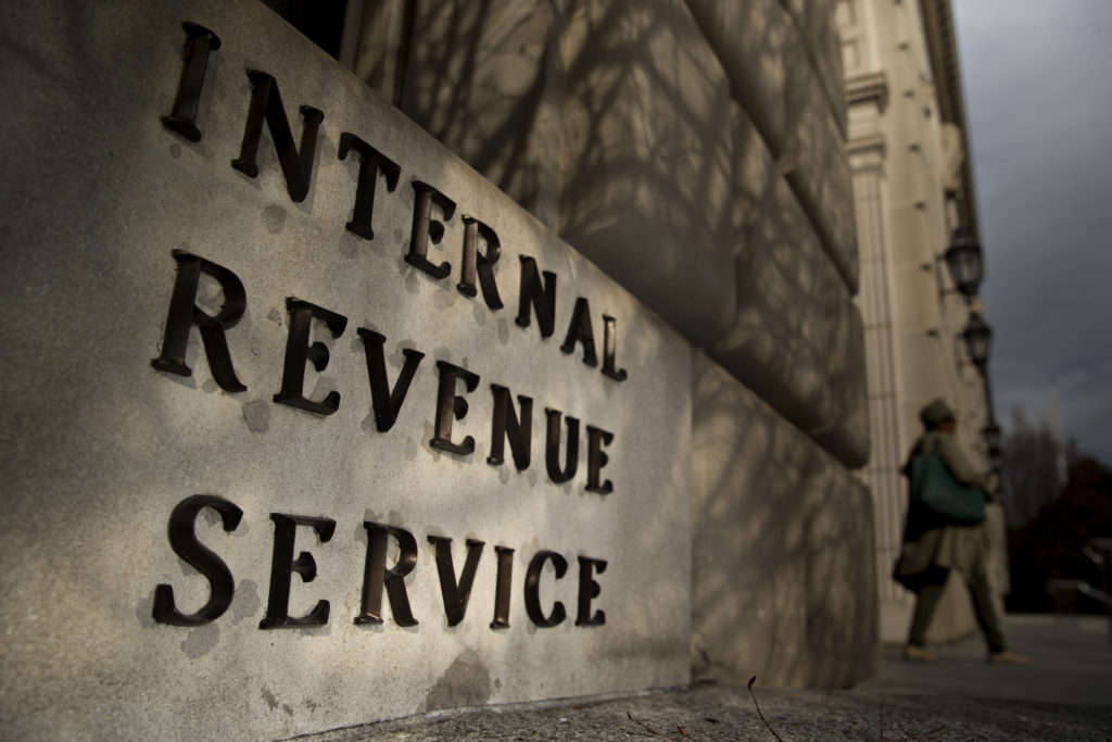 Exterior photo of the IRS building
